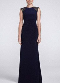 Sleeveless Jersey Derss with Embellished Shoulders, Style XS5142 #davidsbridal #motherofthebride #weddings