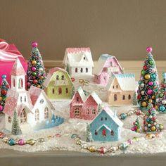 Wee little shabby Christmas village Christmas Village Display, Christmas Villages, Christmas Town, Noel Christmas, Pink Christmas, Vintage Christmas, Christmas Ornaments, Retro Christmas Decorations, Christmas Mantles