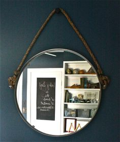 MOSS ECLECTIC: My DIY, Restoration Hardware Inspired Rope Mirror. Usingikea mirror,rope, old door knob and eyelet hooks.