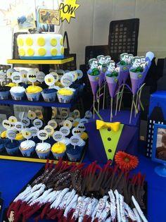 Great Batman dessert table! #batman #desserttable sammy-s-6th-birthday-idea-march-21-2013
