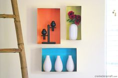 Dress up your walls with a shoebox. (Crème de la Craft | DIY projects made from everyday objects.)