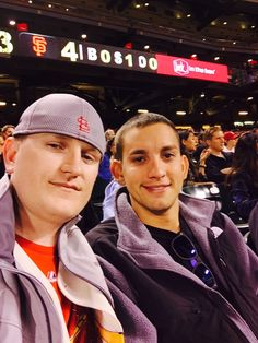 My cousin & I watching the Cards at AT&T Park