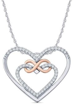 Zales 1/10 CT. T.W. Diamond Infinity Double Heart Pendant in Sterling Silver and 10K Rose Gold