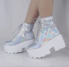 holographic iridescent hologram boots by Kokopiebrand on Etsy Pretty Shoes, Cute Shoes, Me Too Shoes, Funky Shoes, Kawaii Shoes, Kawaii Clothes, Teen Fashion Outfits, Mode Outfits, Fasion