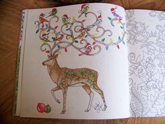 """Adult Coloring Book """"Enchanted Forest"""" Johanna Basford. Deer with Birds on his antlers. Done as a Christmas theme and Colored by Donna Leger"""