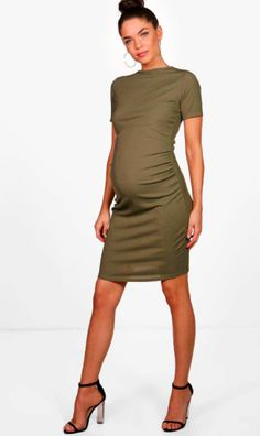 Gorgeously simple olive green maternity dress. Click the pin to find it and more colors at boohoo.com! | boohoo Maternity Ria Basic Rib Crew Bodycon Dress | maternity fashion | maternity outfit | maternity wardrobe | maternity style | maternity dress | maternity clothes | maternity | pregnancy | bump | #ad #maternitydress