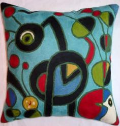 Contemporary Throw Pillows – Miro Aqua Garden