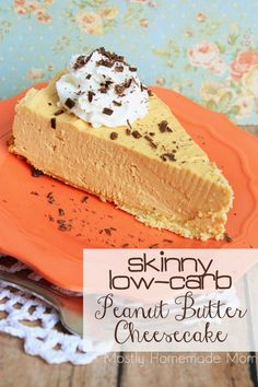 Skinny Low Carb Peanut Butter Cheesecake - Virtually sugar free as well, this cheesecake will ROCK your socks off! Who knew you could lose weight eating peanut butter cheesecake?!