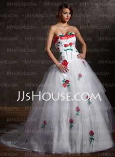 A-Line/Princess Strapless Chapel Train Satin  Tulle Wedding Dresses With Lace (002011386)