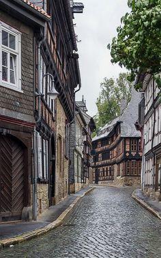 Street with old decorative houses in Goslar, Lower Saxony, Germany   by Boris Breytman