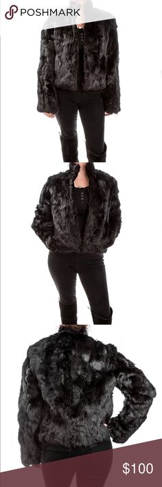 Black fur jacket Wilson's leather rabbit fur jacket. Size small for reference I am about 120 lbs and 5 '3. Good condition. No marks or stains only may have a stored smell from being in my closet without using. No trades. Wilsons Leather Jackets & Coats