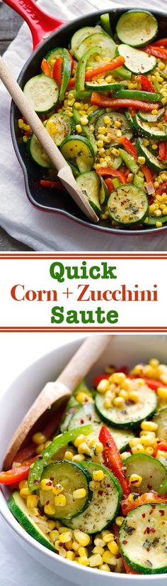 Low Unwanted Fat Cooking For Weightloss Quick Corn And Zucchini Saute That's Ready In 10 Minutes Are Is The Perfect Side Dish For Any Meal Veggie Recipes, Vegetarian Recipes, Dinner Recipes, Cooking Recipes, Healthy Recipes, Zuchinni Side Dish Recipes, Zucchini Vegetable, Vegetarian Tapas, Food Dinners