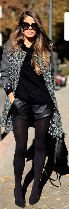 Fall / Winter - street & chic style - leather shorts + black thights + black sweater + gray coat + black heels
