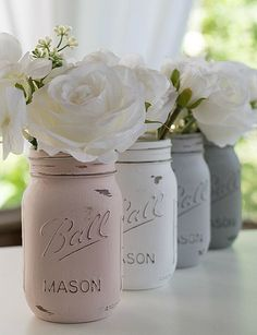 Set of 3 mason jars painted and distressed in Chalky Paint in Blush Pink, Grey, and White. Perfect for weddings and showers, centerpieces,