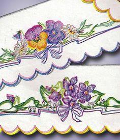 1940s Beautiful Scalloped Floral Pillowcase Transfer Uncut Simplicity Original   eBay