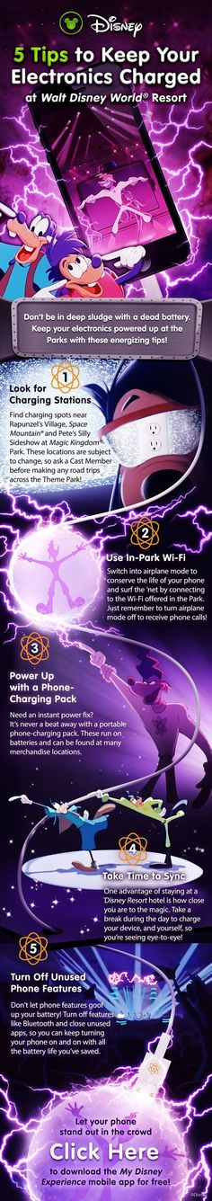 5 tips to keep your electronics charged during your Walt Disney World vacation! Our Laughing Place Travel is charged up and ready to help you plan your magical Disney vacation because OLP Travel puts the Pixie Dust in Concierge Service! #DisneyFun at www.ourlaughingplace.com