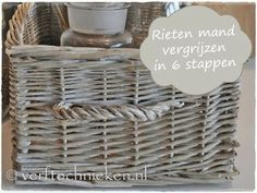 verftechnieken.nl vergrijsd rieten mandje #verftechnieken #vergrijzen #riet #loom