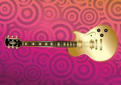 Gold guitar vector illustration on pink circles background, cool design footage in Illustrator AI and PDF vector format to create party flyers, concert posters, music blog designs, rock and roll websites. Download electric guitar in gold color for your freebies music instrument image stock collection. Guitar vector graphics by artshare.ru
