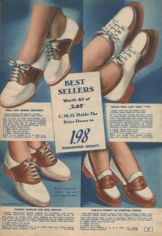 1940s Fashion, Emo Fashion, Fashion Shoes, Vintage Fashion, Womens Fashion, 1940s Shoes, Vintage Shoes, Vintage Outfits, Vintage Advertisements