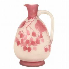 Galle Acid Etched Cameo Glass Ewer Of Flattene Form With An Elongated Neck, Everted Lip And Applied Handle, In Frosted Colorless Glass Overlaid In Dark Pink Colored Glass, Decorated With Pendant Branches With Clusters Of Berries And Leaves  c.1900