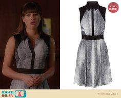 Rachel's black and white flared shirtdress on Glee.  Outfit Details: http://wornontv.net/31008/ #Glee