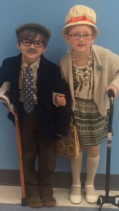 Cute kindergarteners celebrate the 100th Day of kindergarten at Waynesboro Elementary School dressed as 100 year olds!