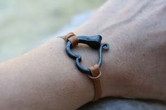Horse shoe nail bracelet Hand forged heart by AlchemyArtworks