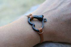 Horse shoe nail bracelet, Hand forged heart bracelet, Hand forged iron jewelry