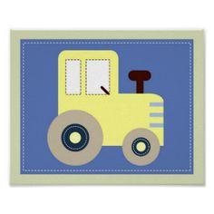 Let's Go Tractor Boys Nursery Wall Art Print