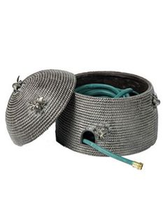 Crochet Inspiration ~ Using outdoor yarn construct a sweet storage pod for your garden hose