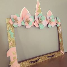 Create UNFORGETTABLE Memories this adorable Unicorn photo booth frame. Unicorn birthday, unicorn first birthday, unicorn baby shower , photo booth frame **I do have various styles for these unicorn frame in my shop ** Diy Unicorn Birthday Party, First Birthday Parties, Birthday Party Decorations, Girl First Birthday, Baby Birthday, Unicorn Baby Shower Decorations, Birthday Ideas, Decoration Photo, Birthday Photo Booths