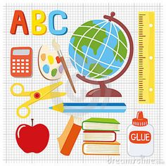 illustration school stuff | Royalty Free Stock Photography: School supplies illustration
