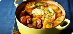 """""""A succulent, slow-cooked classic for when only meat and potatoes will do. This lamb casserole recipe is a warming one-pot wonder! Healthy Eating Recipes, Spicy Recipes, Slow Cooker Recipes, Crockpot Recipes, Lamb Recipes, Healthy Dinners, Healthy Eats, Lamb Casserole Recipes, Lancashire Hot Pot"""