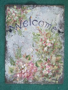 Custom PERSONALIZED hand painted hanging Welcome by ABeautifulGift, $79.99