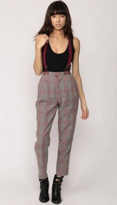 93013becff Suspender Pants Plaid Pants Wool Trousers VINTAGE 70s by ShopExile  Suspenders Fashion