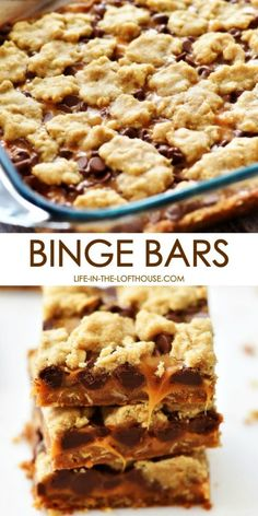 These amazing Binge Bars have an oatmeal cookie crust with chocolate and caramel layers. They are addicting, but in a good way! These amazing Binge Bars have an oatmeal cookie crust with chocolate and caramel layers. They are addicting, but in a good way! Diy Dessert, Dessert Party, Oreo Dessert, Eat Dessert First, Easy Dessert Bars, Köstliche Desserts, Delicious Desserts, Dessert Recipes, Yummy Food
