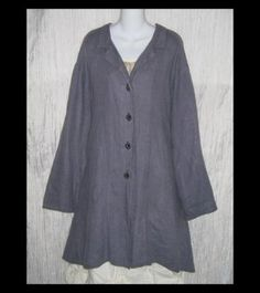 Cynthia Ashby Shapely A-Line Dusty Twilight Linen Duster Jacket Tunic Top Coat One Size