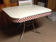 Vintage Chrome And Formica Table  OMG The Red Checkered Sides!