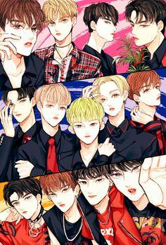 Bless that one who made this fanart😱💥💖 Seventeen Memes, Seventeen Debut, Carat Seventeen, Seventeen Woozi, Seventeen Wallpapers, Shared Folder, K Pop Star, Korean Art, Kpop Fanart