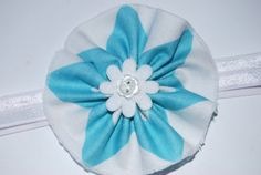 Teal and White Headband Flower Print for by TheCraftyEuropean, $10.00