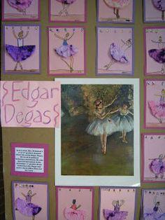 love this Edgar Degas lesson idea. Coffee filter for the tutu.