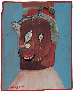 """SELF-PORTRAIT AT 84/ Mose Tolliver, 1978 house paint on plywood, 20 13/16 x 16 13/16"""", American Folk Art Museum, gift of Robert Bishop, 1987.11.3. Photo by John Parnell"""