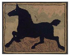 A COTTON AND WOOL HORSE HOOKED RUG