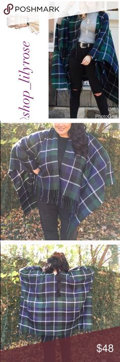 Plaid blanket scarf wrap This is so cozy and warm! I get complements on mine all the time when I wear it; use a belt to get a more closed cinched look; so many possibilities with this color combo! Comes new in package Accessories Scarves & Wraps