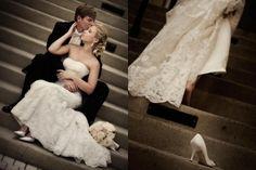 idée originale de photo de mariage sur le thème Cendrillon