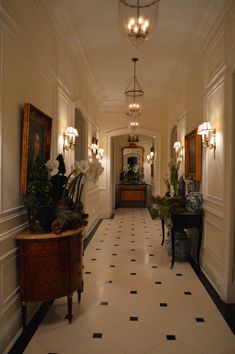 Home Interior Design, Interior And Exterior, Floor Design, House Design, Corridor Design, French Style Homes, Edwardian House, Black And White Tiles, Enchanted Home