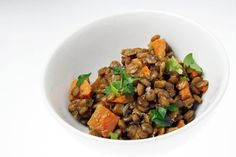 Sweet potato  lentil salad.  As much as I love to mock GOOP (Gwenyth Paltrow's lifestyle blog), there are occasionally tasty recipes there.