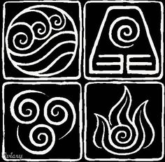Yes, these are the symbols for the 4 elements from Avatar: the Last Airbender. Awesome tattoo idea? nerdy