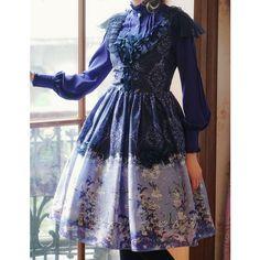 Fairy Floral Dress Lolita Fashion Midi Dress Unique Print blue/green... ❤ liked on Polyvore featuring dresses, summer midi dresses, green summer dress, floral summer dresses, floral print dress and blue print dress
