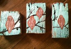 Triptych...acrylic on salvaged fence board